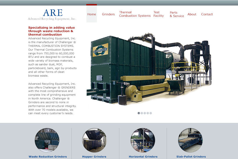 Advanced Recycling Equipment website thumbnail